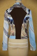 Roberto Cavalli Denim Jacket Coat Designer Italy Blue Black Metallic Gold Small