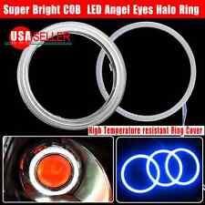 US 2X 80mm Ultra Blue 93 COB LED 12-24V Angel Eyes Halo Ring Fog Housing Lamp