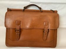 Vintage LL Bean Leather Travel Messenger Gusset Flapover Attaché Briefcase