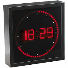 LED Uhr: LED-Wanduhr mit Sekunden-Lauflicht durch rote LEDs (Leucht Wanduhr)