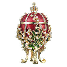 Russian Faberge Egg / Trinket Jewel Box Lilies of the Valley 8,5 cm red