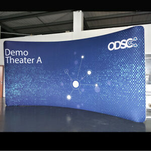20ft tension fabric custom curved back wall trade show display booth with print