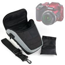 Portable Black & Silver Case with Shoulder Strap for Nikon Coolpix B500 Camera