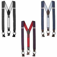 Jacob Alexander Mens Large Dots Suspenders Braces Convertible Leather Ends Clips