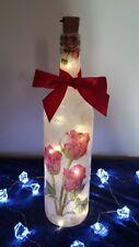 Decoupaged bottle light, handmade, red roses, home decor, Valentines gift!
