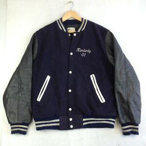 Vintage Mens Varsity Football Letterman Jacket - Blue -  Size L - Made in USA