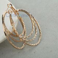 18K gold plated thin twist cut big hoop snap Earring diameter 4inch 0411