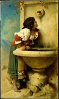 LMOP1281 100%  handmade-painted Girl drinking water oil painting art on canvas
