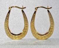 9CT YELLOW GOLD & SILVER GREEK KEY LADIES OVAL CREOLE HOOP EARRINGS
