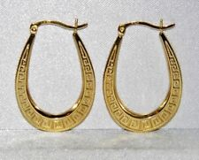 9CT YELLOW GOLD & SILVER GREEK KEY LADIES OVAL CREOLE HOOP EARRINGS