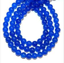 "Bright Candy Blue Malay Jade 8mm Smooth Round Quartz Gemstone Beads 15""AAA"