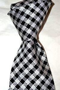"$245 NWT TOM FORD Black & white medium Gingham Check 3.75"" woven silk tie Italy"