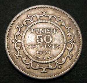 TUNISIA 50 Centimes AH1308/1891A - Silver - VF - 1287