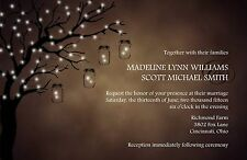 Wedding Invitations Rustic Lighted Tree Country  - 50 Invitations & RSVP Cards