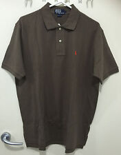 Men Cotton Polo Shirt RALPH LAUREN Small Pony French Roast - Size L