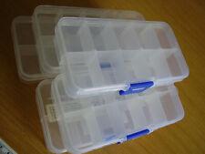 5 Perlenboxen je 10 Fächer aufbewahren sortieren Perlendosen Kunststoff klar