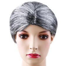 Women Grandma Silver Gray Short Curly Hair Retro Old Ladies Cosplay Party Wig QP
