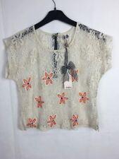 Ribbon Crochet Mesh Holiday Crop Top Size 12 UK Emblishment Boho Hippy