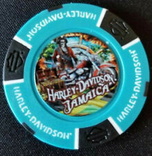 HD JAMAICA ~ Harley Poker Chip~FULL COLOR~ (Biker Blue/Black)
