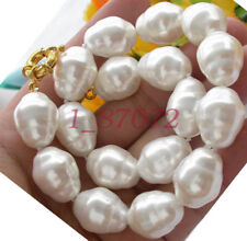 """AAA++ LARGE FASHION 20MM SOUTH SEA WHITE BAROQUE SHELL PEARL NECKLACE 18"""""""