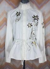 LAPIS Sz L White Pleated Floral gold print Tied Button up Shirt