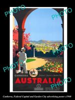 8x6 HISTORIC AUSTRALIAN ADVERTISING POSTER CANBERRA THE FEDERAL CAPITAL c1940