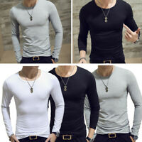 Men Slim Fit Long Sleeve Slim T-shirts Casual Tee Shirt Tops Pullover Round Neck