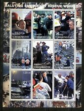 TURKMENISTAN 2001: EMERGENCY RESCUE, FIRE FIGHTING, RED CROSS, SHEET OF 9, MNH