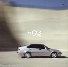 Prospekt Saab 93 TiD 2001 Autoprospekt 632620 7/00 Autoprospekt Pkw 24,5x24,5 cm