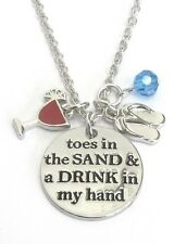 Toes In The Sand Drink In My Hand Multi Charm Necklace Flip Flop Beach Summer