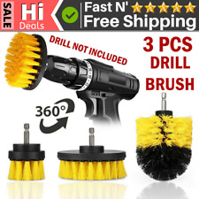 3 Pcs Drill Brush Set Power Scrubber Attachments For Carpet Tile Grout Cleaning