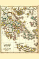 Ancient Greece Antique Style Map Poster 12x18 inch
