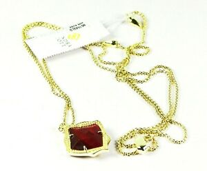 KENDRA SCOTT Kacey Yellow Gold Plated Tiger's Eye Pendant & Chain Necklace