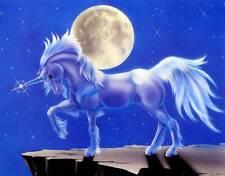 Unicorn Under a Full Moon: 10x8 In. Fantasy Art Print