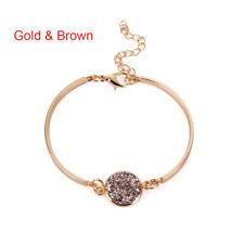 Women Crystal Quartz Druzy Bracelet Natural Stone Silver/Gold Charm Cuff Bangle