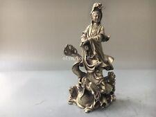 9'' tibetan bronze silver carved Avalokitesvara Bodhisattva Guanyin on fish