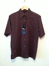 BNWT ARMAND BASI S/Sleeve Shirt In Black/Brown Stripe Size L