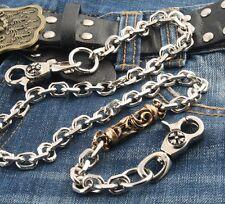 "Gold Gothic Pendant Strong Biker Trucker Key Jean Wallet Chain (27"") Silver CS49"