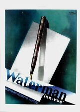 Original vintage print WATERMAN FOUNTAIN PEN INK-VIEW 1937 Colin