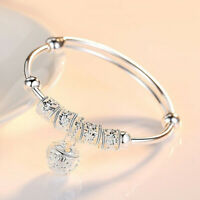 Fashion 925 Sterling Silver Plated Cuff Bracelet Charm Bangle Women Jewelry Gift