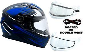 Snowmobile Helmet Adult Blue Full Face With Double Pane Shield or Heated DOT