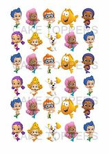 30 PRECUT BUBBLE GUPPIES STAND UP EDIBLE BIRTHDAY CAKE FAIRY CUPCAKE TOPPERS