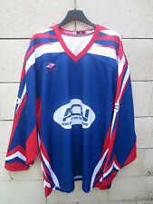 Maillot hockey ACN CANO-FLORES n°1 bleu EASTON shirt jersey trikot made in USA L