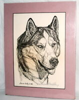 Vtg Ink Drawing Dog Siberian Husky G Marlo Allen Inkwell Gallery Numbered Matted