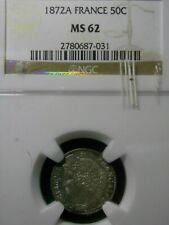 50 CENTIMES 1872 A FRANCE NGC MS62