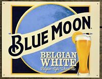 Blue Moon Ales Beer Belgian White Metal Tin Ad Sign Bar Pub Man Cave Garage Gift