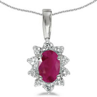 """10k White Gold Oval Ruby And Diamond Pendant with 18"""" Chain"""