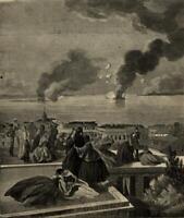 Charleston South Carolina city view to Fort Sumter 1861 Harper's view print