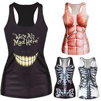 Women Summer T-shirt Gothic Punk Racerback Tank top Vest 3D Print Camisole B$