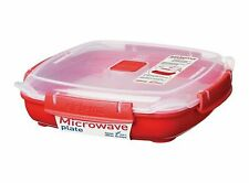 Sistema Microwave Medium Plate with Removable Steaming Tray - 880 ml, Red/Clear